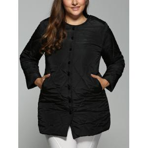 Plus Size Topstitched Pocket Design Coat - Black - 3xl