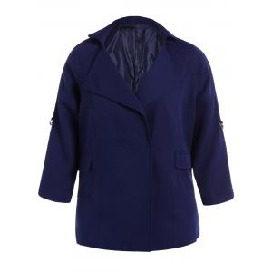 Plus Size Pocket Design Plain Coat - Cadetblue - 2xl