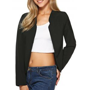 Stand Collar Plain Slimming Blazer