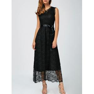 Lace A Line Long Prom Dress - Black - 2xl