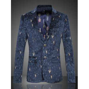 Graphic Single-Breasted Flap Pocket Blazer