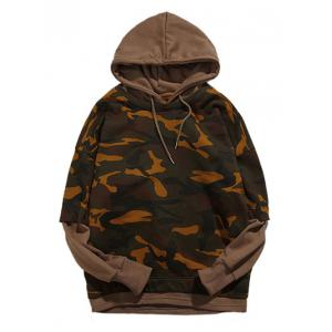 Camouflage Pattern Long Sleeve Faux Twinset Hoodie