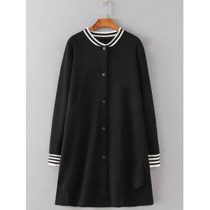 Girl Applique Striped Asymmetric Bomber Coat - Black - 2xl