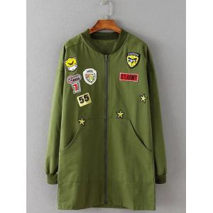 Patterned Applique Twin Pockets Coat - Army Green - 2xl