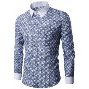 Contrast Collar Long Sleeve Retro Printed Shirt