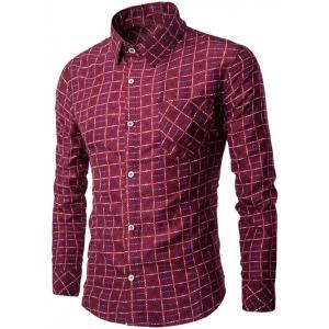 Long Sleeve Pocket Design Plaid Shirt - Wine Red - M