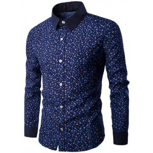 Long Sleeve Contrast Collar Bubble Print Shirt