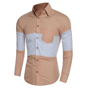 Slim-Fit Color Block Shirt