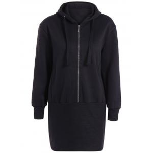 Hooded Zipper Design Slim Dress