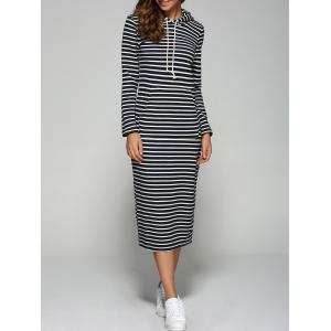 Hooded Striped Pocket Design Dress - Black - M