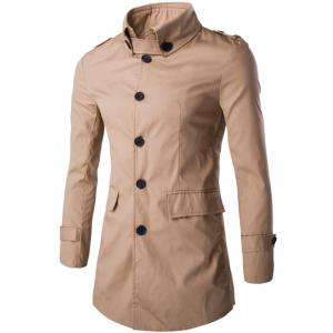 Slim Button-Down Collar Epaulet Design Trench Coat