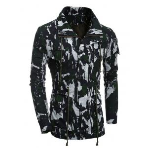 Multi-Pocket Zip Up Camouflage Coat