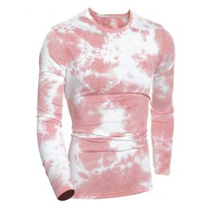 Crew Neck Tie-Dyed Muscle Long Sleeve T-Shirt - Pink - M