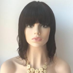 Medium Neat Bang Slightly Curled Lace Front Human Hair Wig