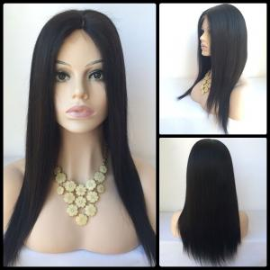 Long Middle Parting Straight Lace Front Human Hair Wig - Black