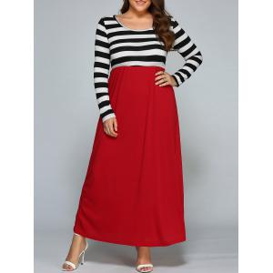Plus Size Stripe Maxi Dress with Sleeves - Black And White And Red - 2xl