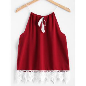 Lace Splicing Drawstring Tank Top