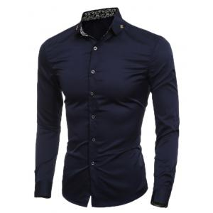 Slim Long Sleeve Metal Embellished Shirt - Cadetblue - L