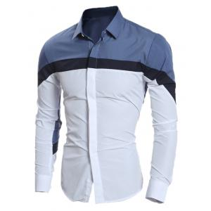 Slim Long Sleeve Color Block Shirt