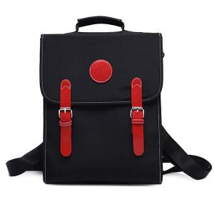 Color Spliced Double Buckle Nylon Backpack - Red With Black