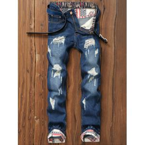 Star Print Hemming Design Distressed Zipper Fly Straight Leg Jeans - Blue - 31
