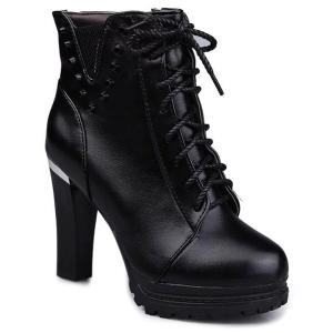 Rivet Chunky Heel Lace-Up Ankle Boots - Black - 37