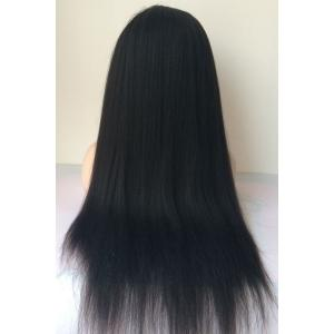 Long Yaki Straight Middle Parting Lace Front Human Hair Wig - JET BLACK