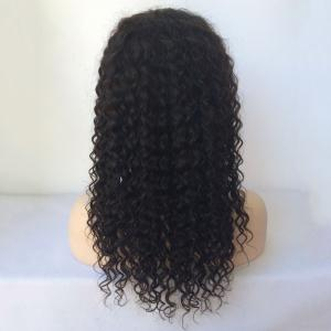 Side Parting Long Curly Lace Front Human Hair Wig - BLACK