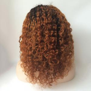 Medium Curly Neat Bang Lace Front Human Hair Wig -
