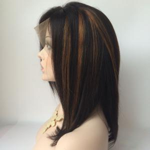 Medium Side Parting Highlight Straight Lace Front Human Hair Wig -