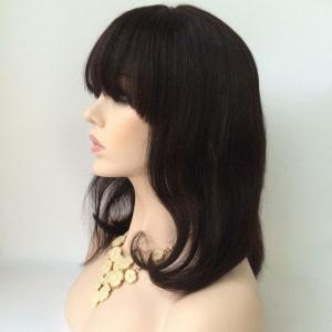 Medium Neat Bang Slightly Curled Lace Front Human Hair Wig - BLACK