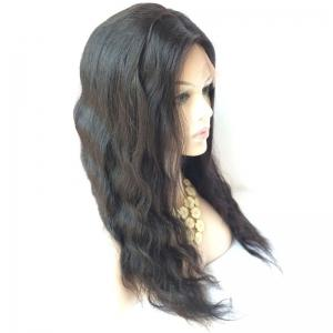 Long Middle Parting Body Wave Lace Front Human Hair Wig - BLACK