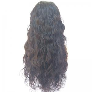 Long Water Wave Lace Front Human Hair Wig - BLACK