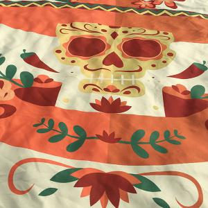 Motif Skull Flower festival Halloween plage ronde Throw -