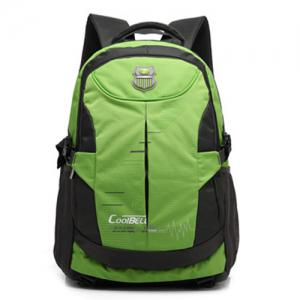 Nylon Color Spliced Zippers Backpack - GREEN
