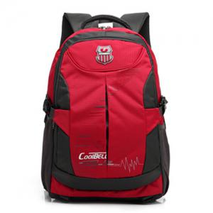 Nylon Color Spliced Zippers Backpack - RED
