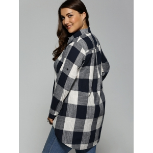 Plus Size Plaid Asymmetrical Shirt - PURPLISH BLUE 3XL