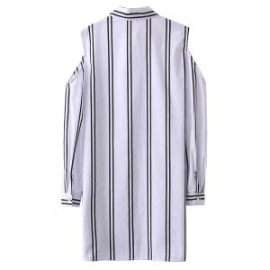 Striped Cold Shoulder Long Shirt - WHITE M
