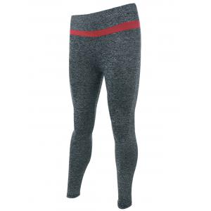 Two-Toned Heather Sport Leggings - GRAY ONE SIZE