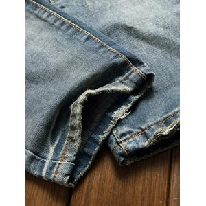 Holes and Cat's Whisker Patch Straight Leg Denim Pants -