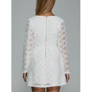 Plunging Neck Long Sleeve Lace Skater Dress - WHITE L
