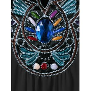 Plus Size Embroidered Rhinestone Tunic Blouse - BLACK 4XL