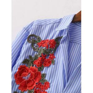 Shirt Neck Striped Floral Embroidered Tunic Casual Shirt Dress - BLUE S