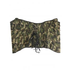 Lace-Up Camouflage Corset With Panties - GREEN 2XL