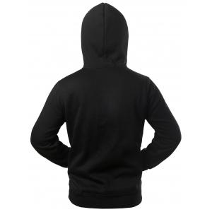 Texture Pocket Star Patched Drawstring Hoodie -