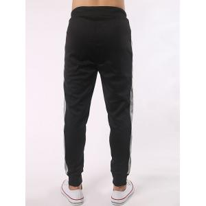 Drawstring Contrast Paneled Joggers Pants - BLACK 4XL