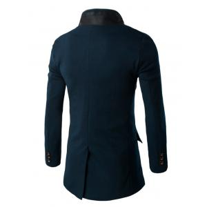 Slim-Fit Double Collar Flap Pocket Coat - CADETBLUE 2XL