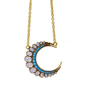 Fake Crystal Moon Pendant Necklace -