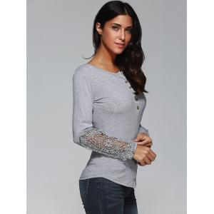Buttoned Lace T-Shirt - GRAY M