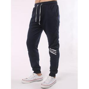 Stripe Paneled Eyelet Drawstring Jogger Pants -